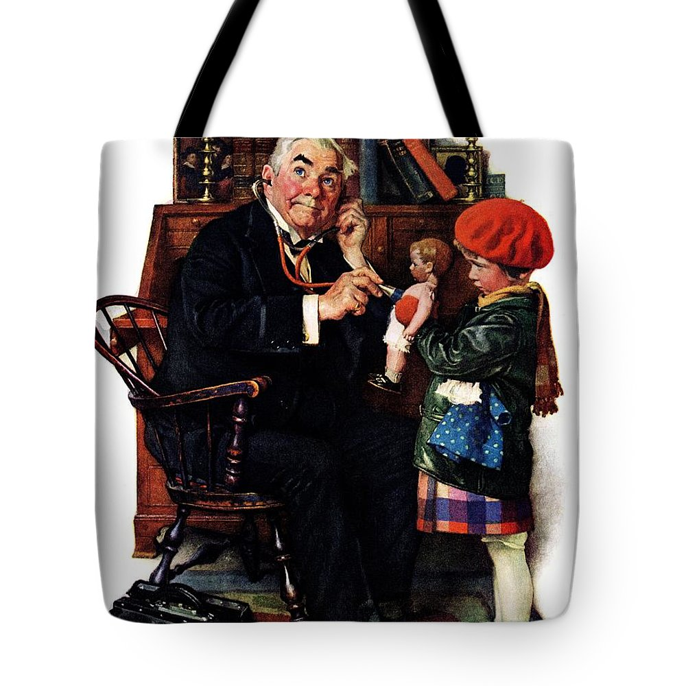 Doctors Tote Bag featuring the drawing Doctor And The Doll by Norman Rockwell