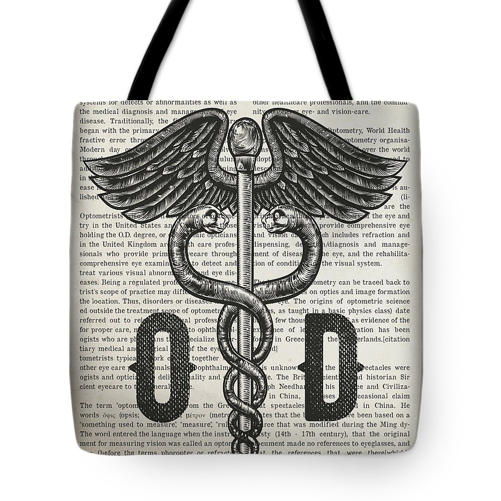 Doctor Of Optometry Tote Bag featuring the digital art Doctor Of Optometry Gift Idea With Caduceus Illustration 01 by Aged Pixel