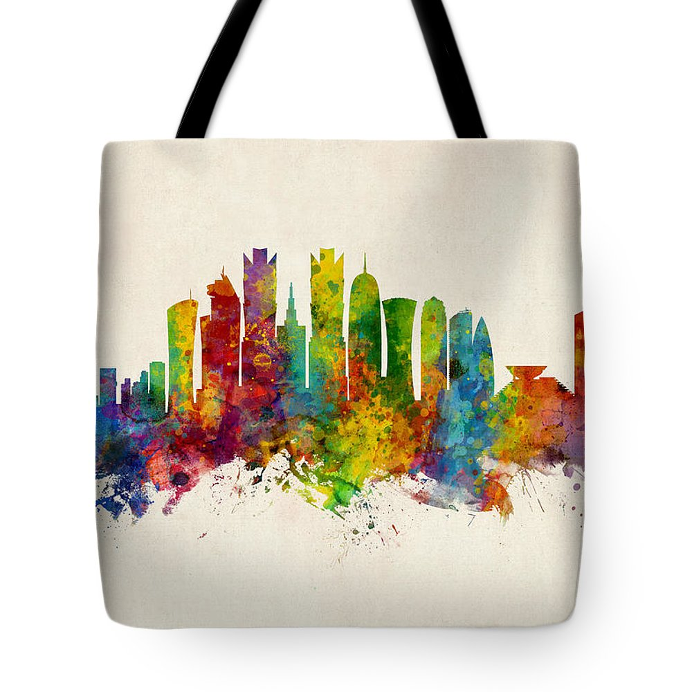 Watercolor Art Print Of The Skyline Of Doha Tote Bag featuring the digital art Doha Qatar Skyline by Michael Tompsett