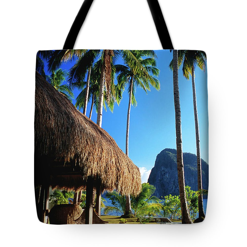 Tropical Tree Tote Bag featuring the photograph Dolarog Beach Resort With Inabuyatan by Dallas Stribley