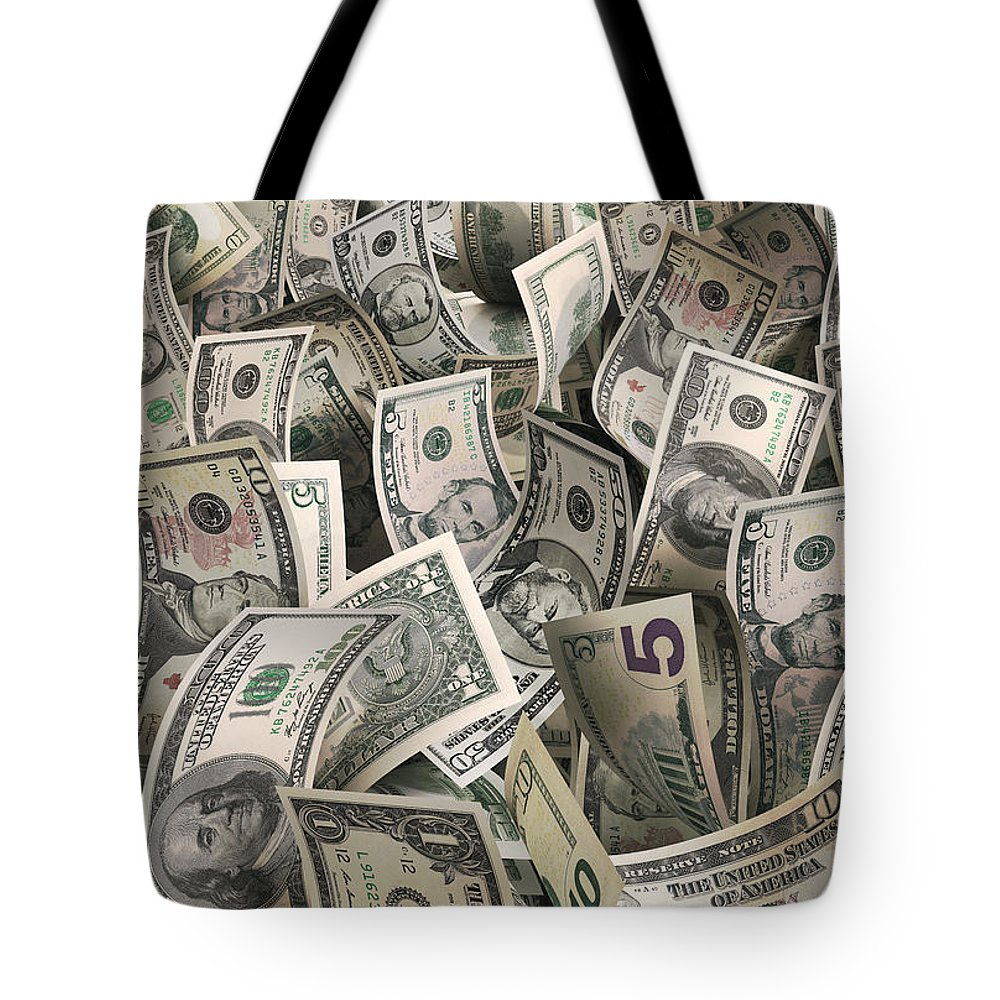 Five Dollar Bill Tote Bag featuring the photograph Dollars by Ktsfotos