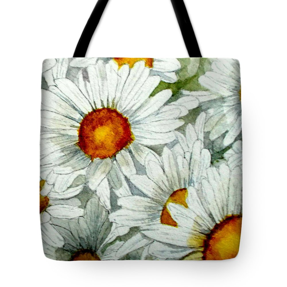 Daisies Tote Bag featuring the painting Don't Push by Nicole Curreri