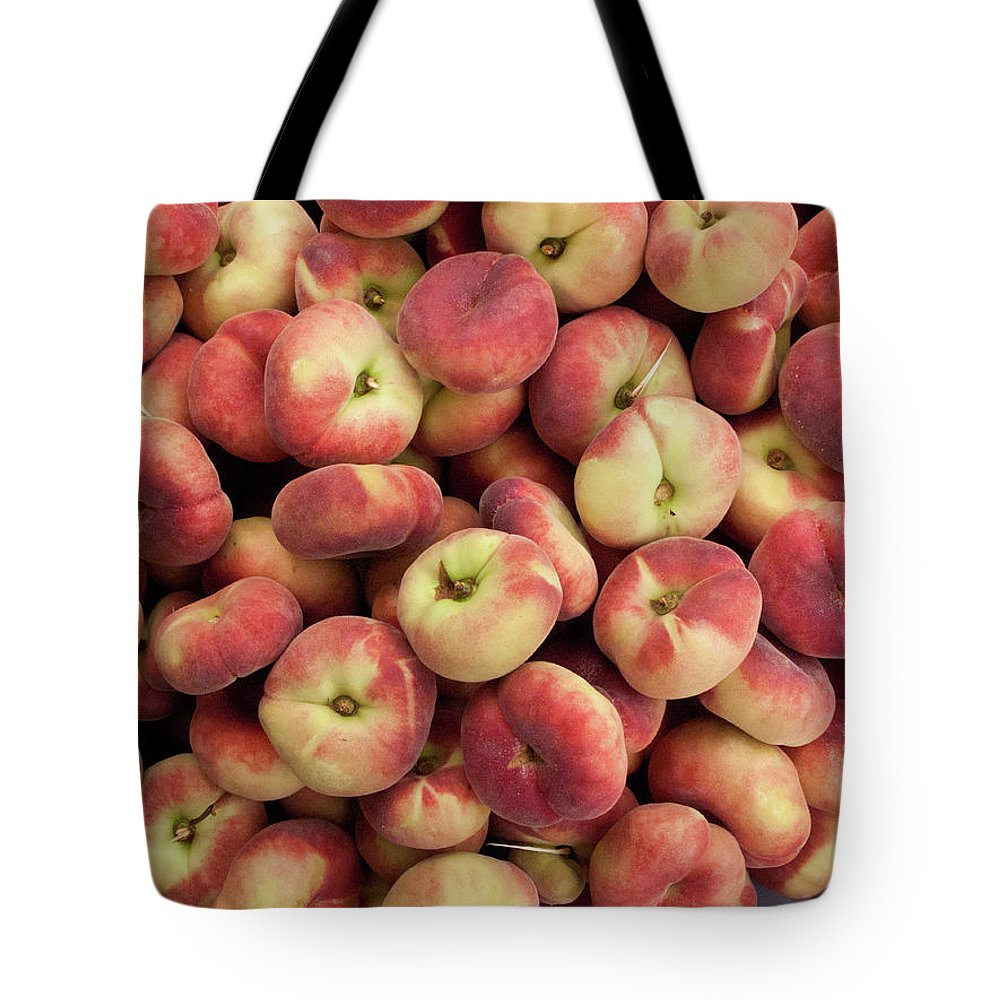 Retail Tote Bag featuring the photograph Donut Peaches At A Farmers Market by Bill Boch