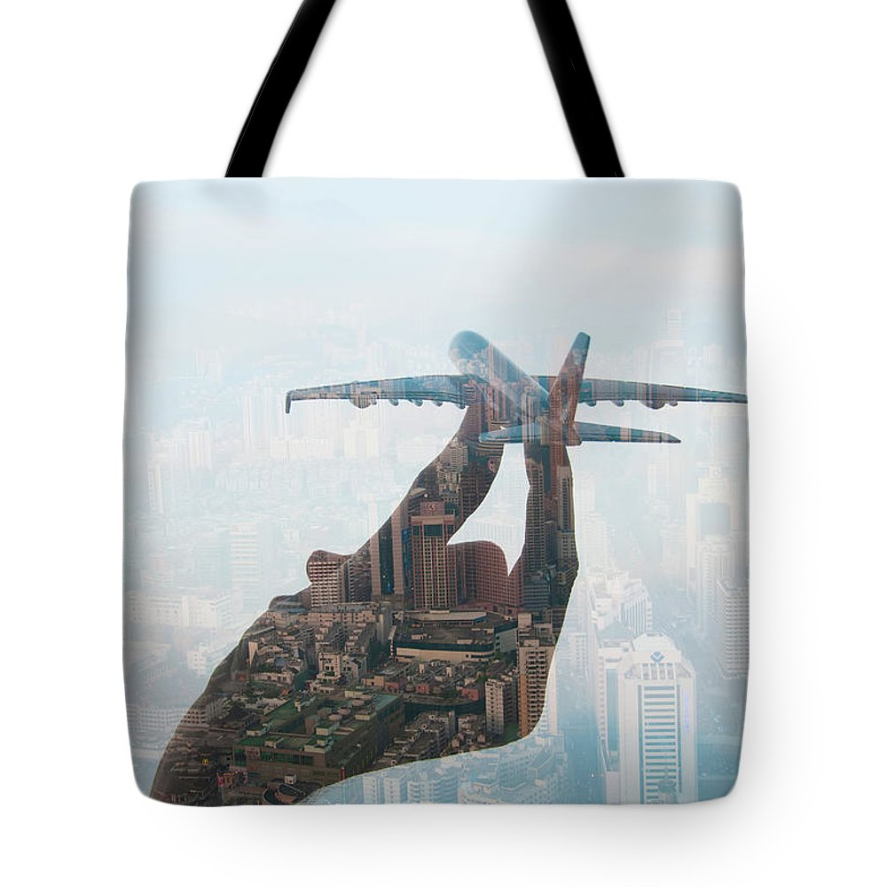 People Tote Bag featuring the photograph Double Exposure Of Hand Holding Model by Jasper James