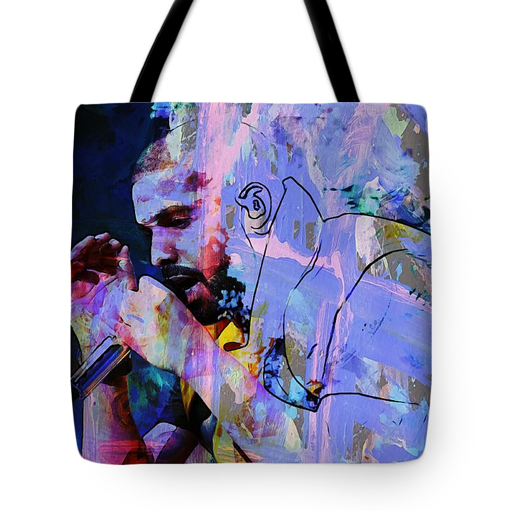 Drake Tote Bag featuring the mixed media Drake Thank Me Later 1 by Brian Reaves