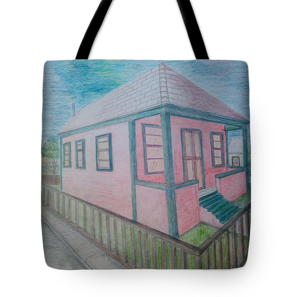 Drawing By Andrew Johnson Tote Bag featuring the drawing Dream Cottage by Andrew Johnson