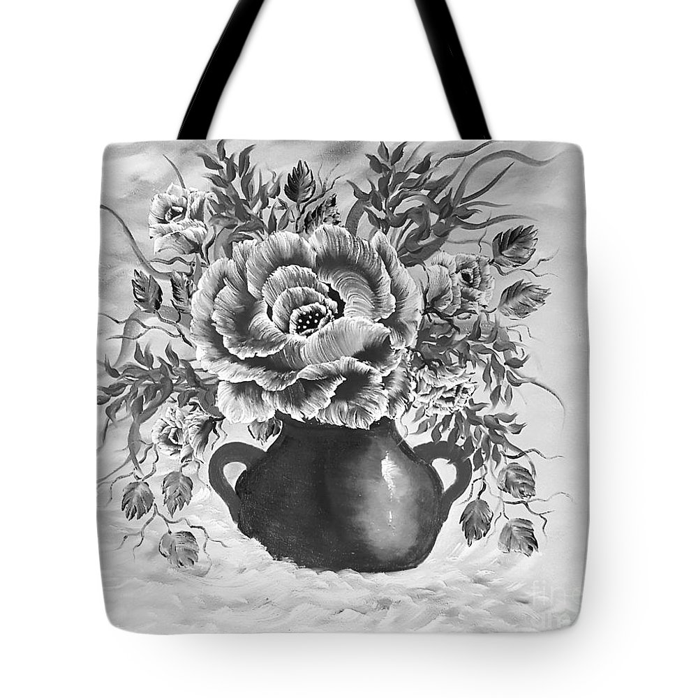 Gray Tote Bag featuring the painting Dreamy Floral Rose Gray by Angela Whitehouse
