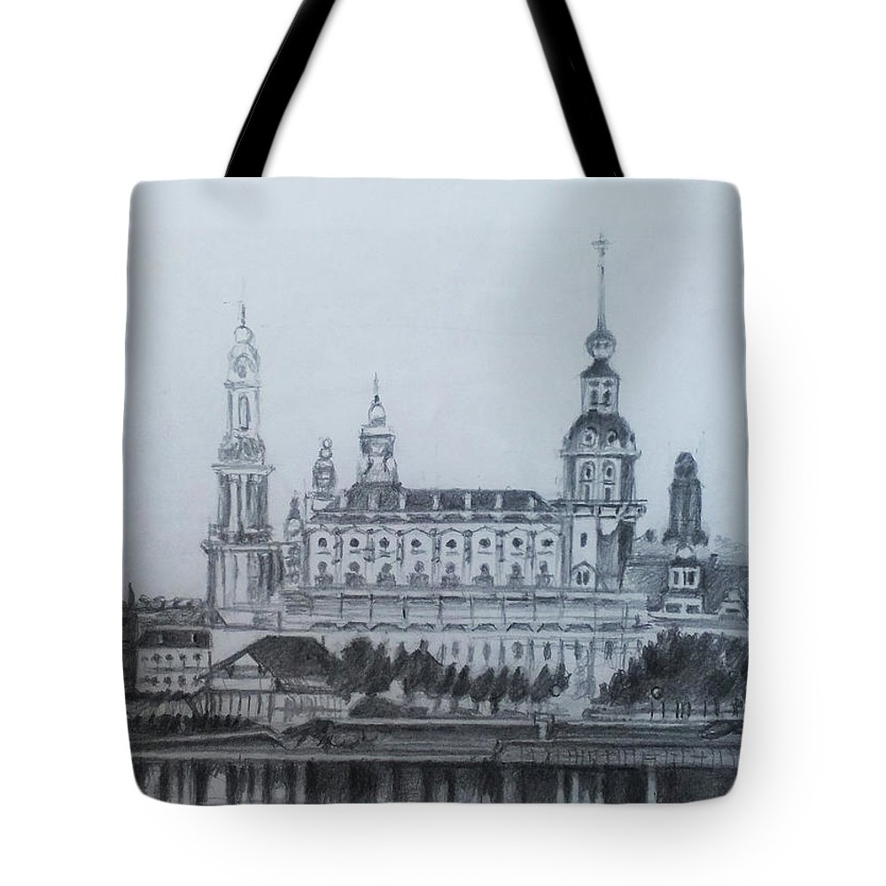 Cathedral Of Dresden Tote Bag featuring the drawing Dresden Cathedral- Dresden by Mohammad Hayssam Kattaa