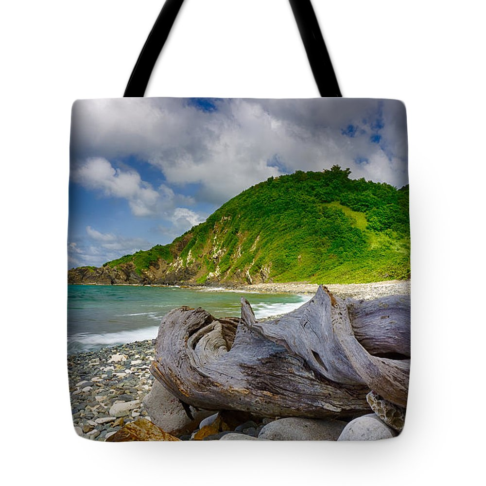 Pristine Tote Bag featuring the photograph Driftwood Spiral by Amanda Jones