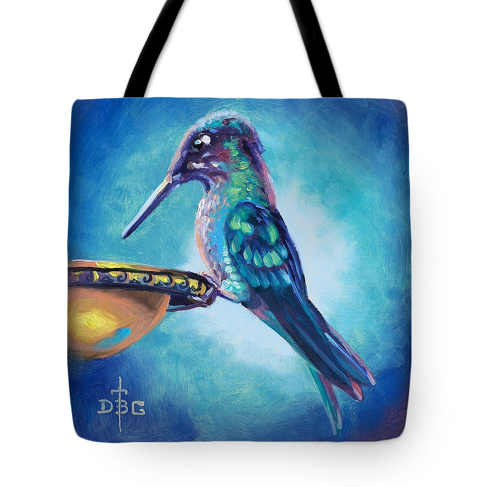 Humming Bird Tote Bag featuring the painting Drink Break by David Bader