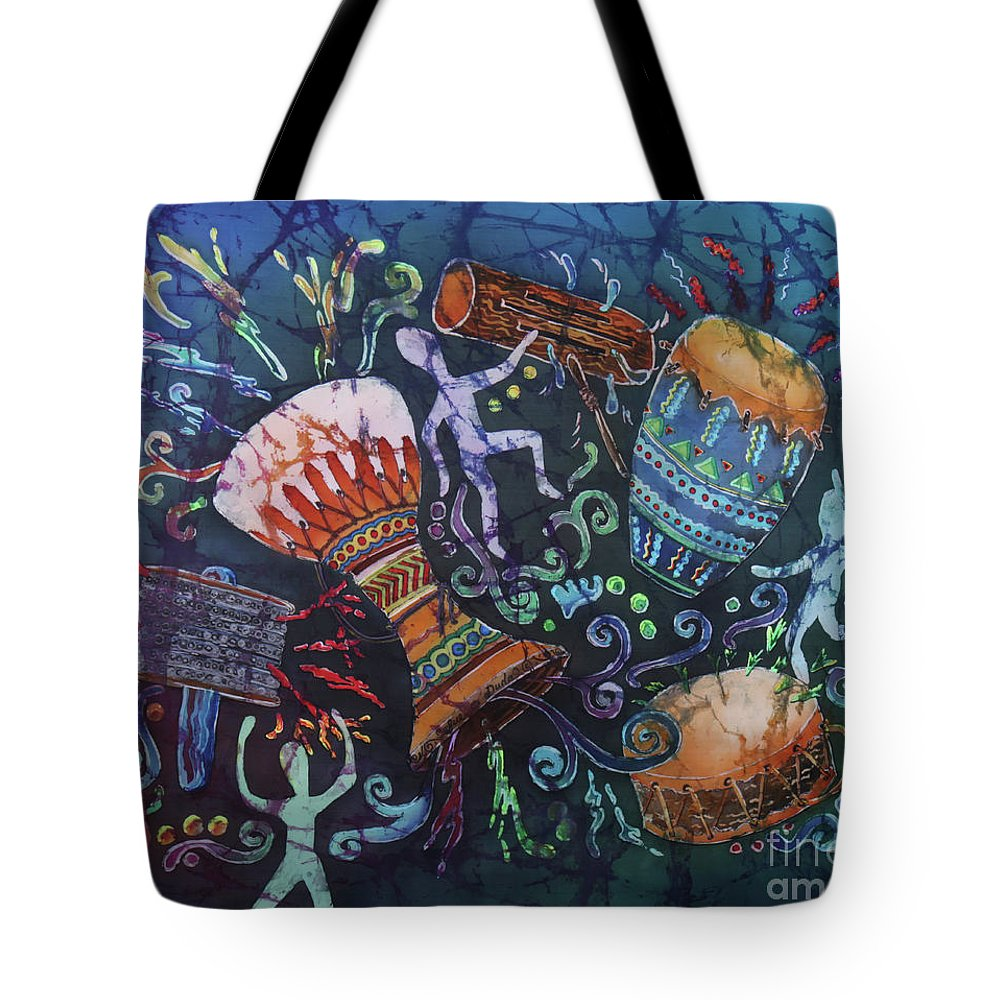 Drums Tote Bag featuring the painting Drumbeat by Sue Duda