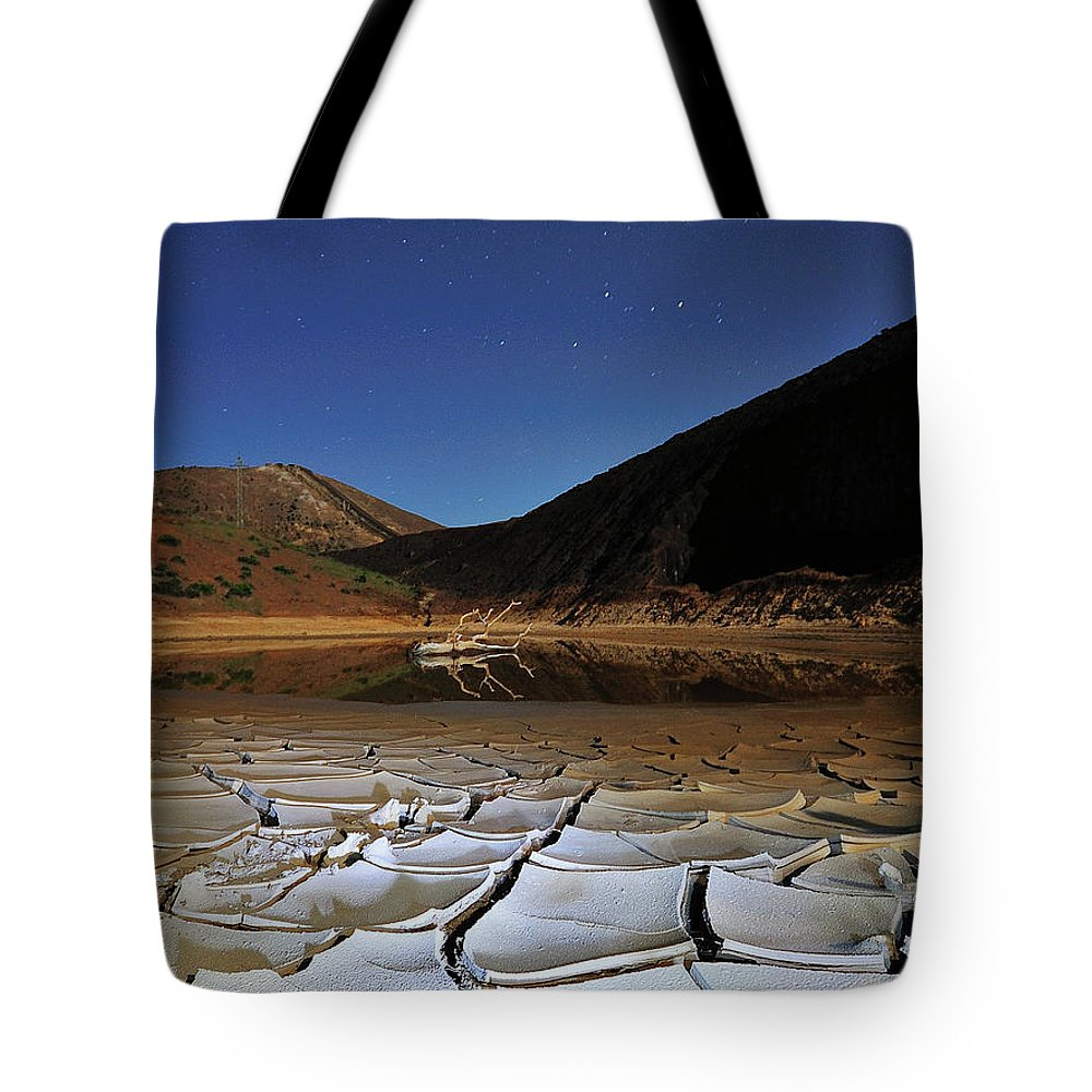 Tranquility Tote Bag featuring the photograph Dry Landscape With Stars And Mountains by Davidexuvia