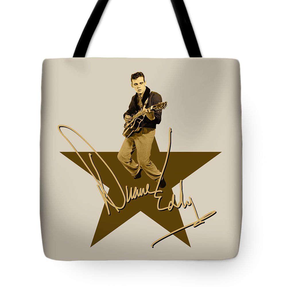 Duane Eddy Tote Bag featuring the digital art Duane Eddy Signature by David Richardson