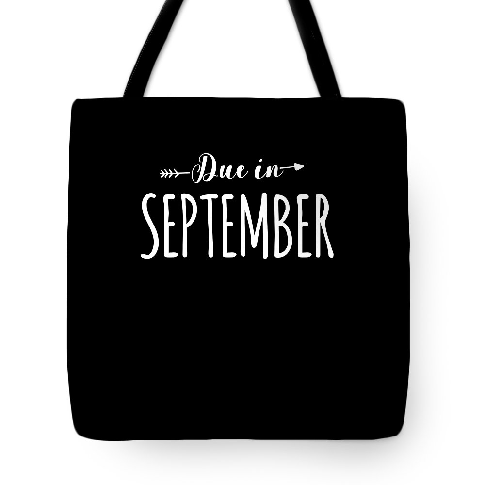 Funny Tote Bag featuring the digital art Due In September Funny Maternity by Crypto Keeper