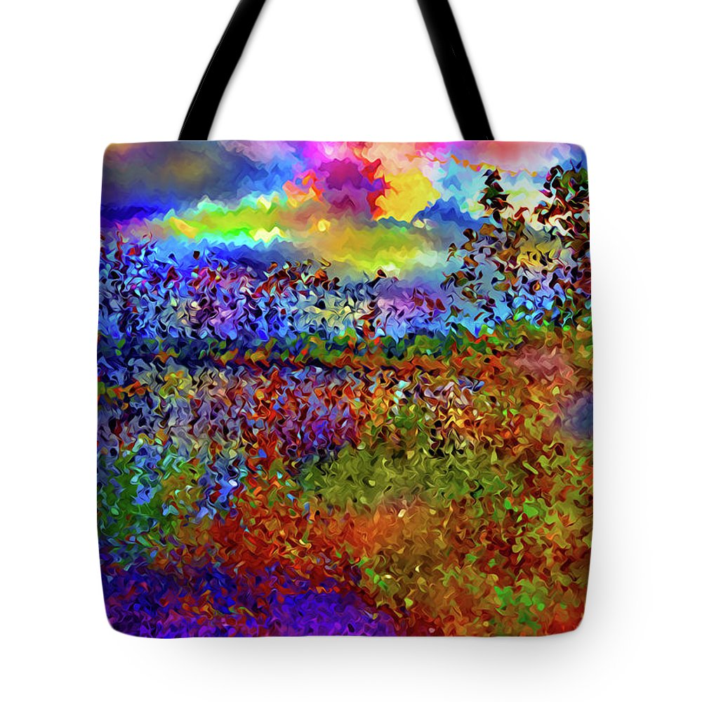 World's Tote Bag featuring the digital art Dusk Someplace Else by Ron Fleishman