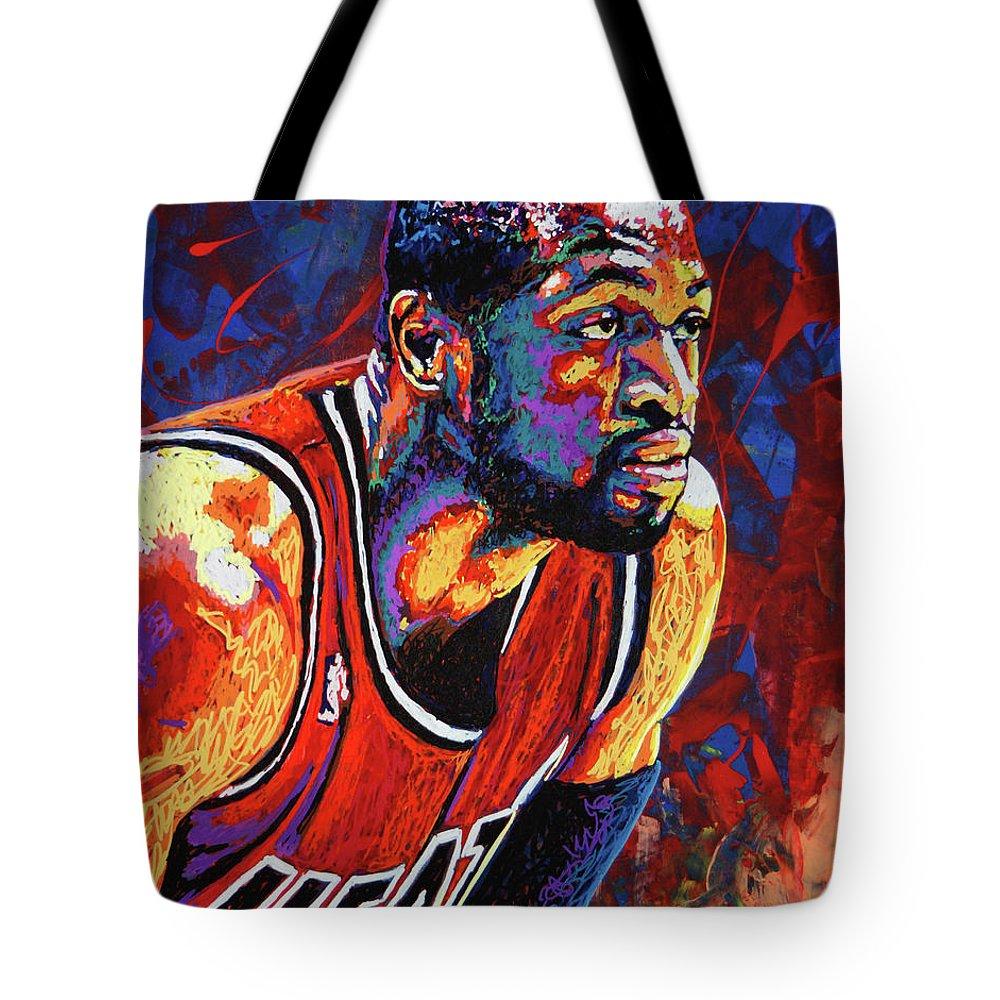 Dwyane Wade Tote Bag featuring the painting Dwyane Wade 3 by Maria Arango