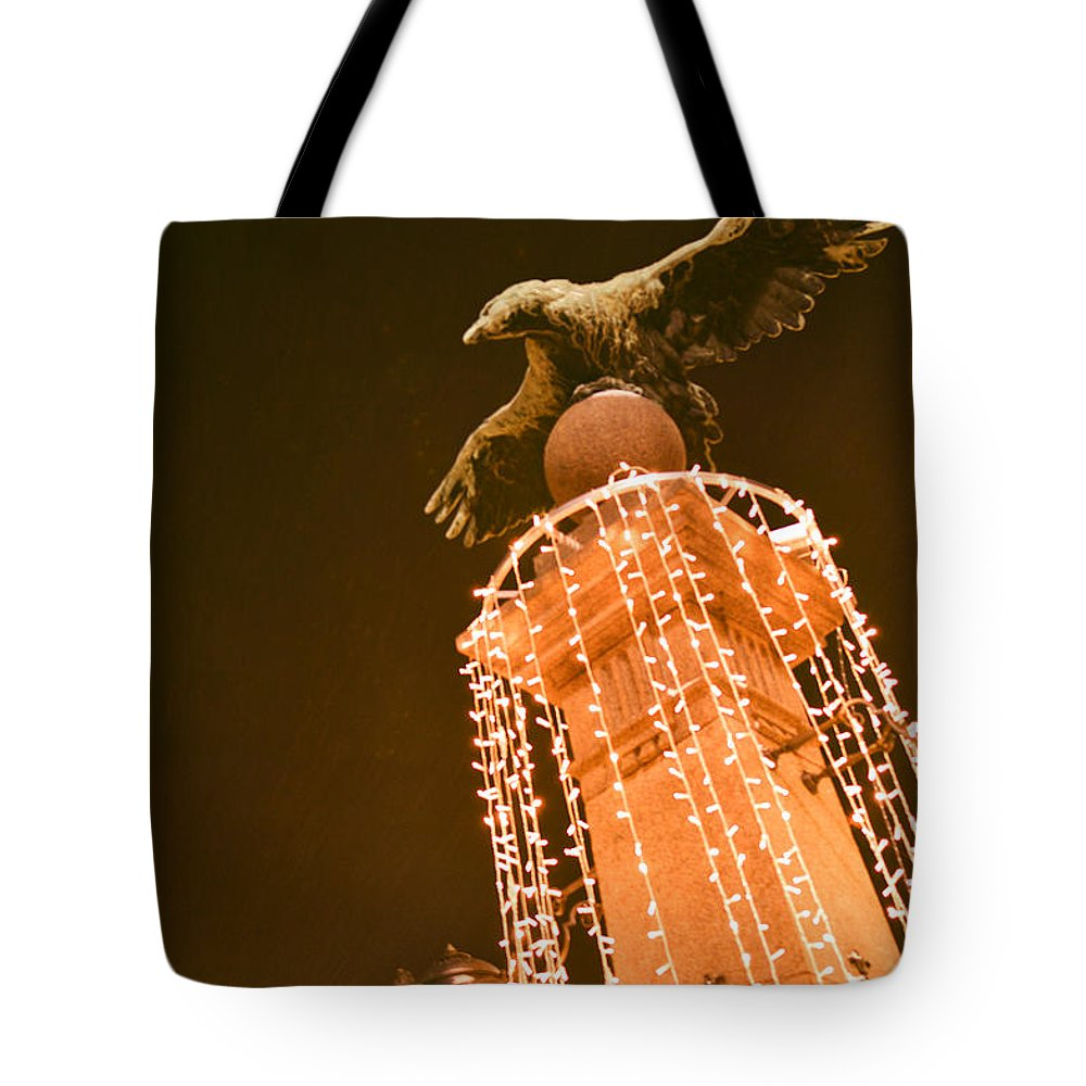 Eagle Statue Tote Bag featuring the photograph Eagle On Guard In Winter Night by Yavor Mihaylov