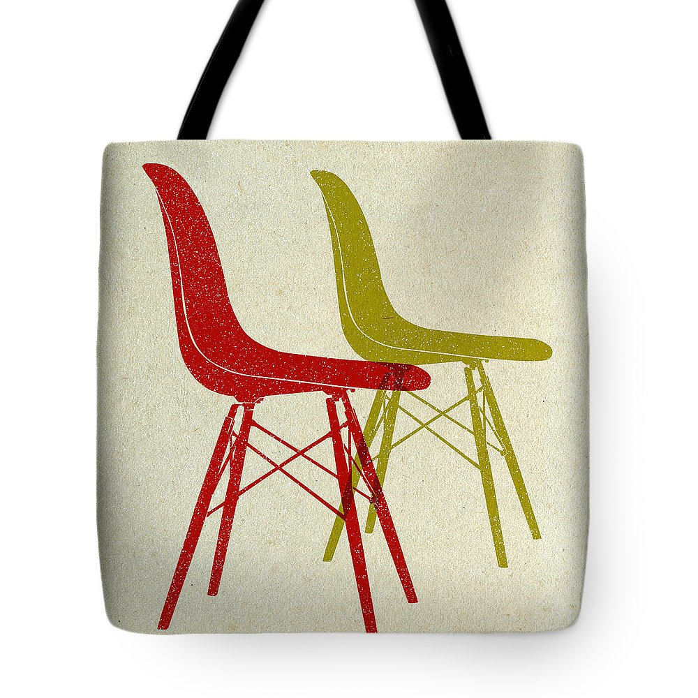 Mid-century Tote Bag featuring the digital art Eames Plastic Side Chairs I by Naxart Studio