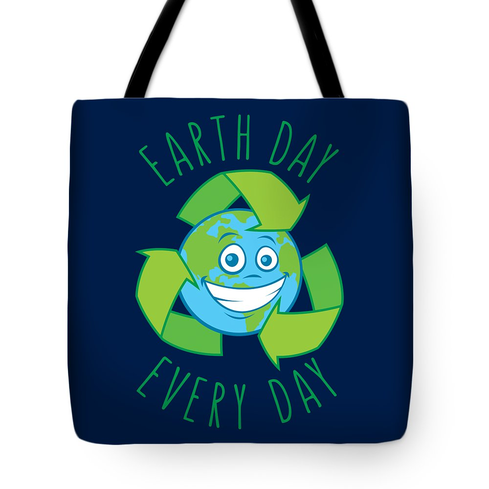 Green Tote Bag featuring the digital art Earth Day Every Day Recycle Cartoon by John Schwegel