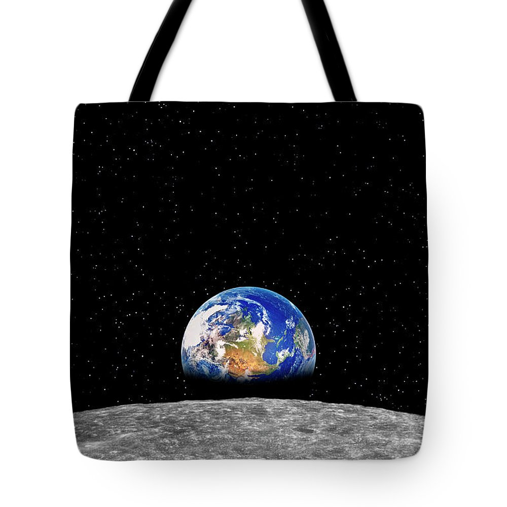 Planetary Moon Tote Bag featuring the photograph Earth Rising Over Moon by Rob Atkins