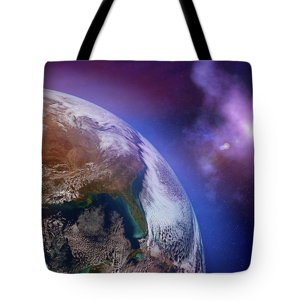 Globe Tote Bag featuring the photograph Earth With Stars by Dem10