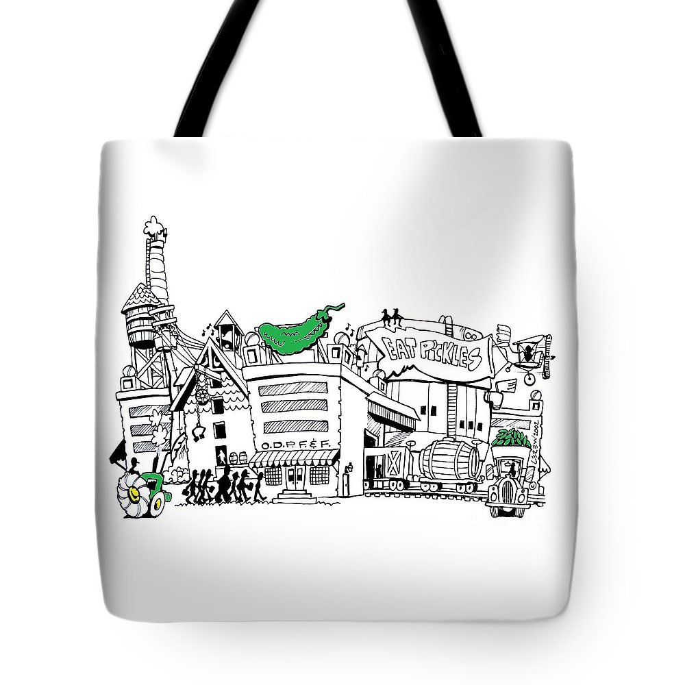 Pickles Tote Bag featuring the drawing Eat Pickles by Larry Lerew