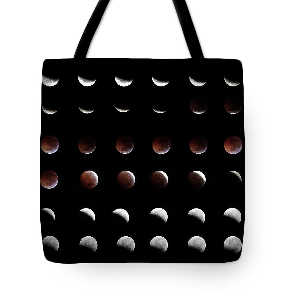Event Tote Bag featuring the photograph Eclipse, In All Phases Of The Moon by Arturogi