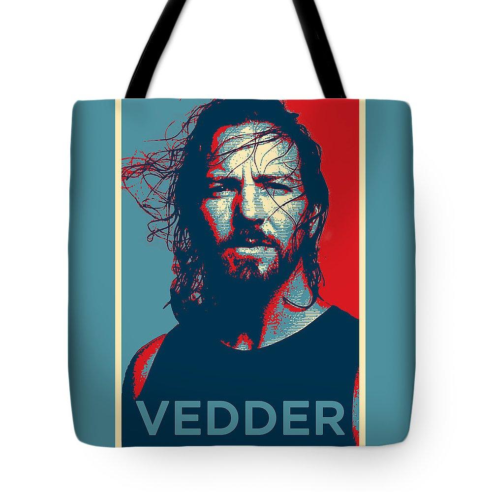 Pearl Jam Tote Bag featuring the digital art Eddie by Robert Barsby