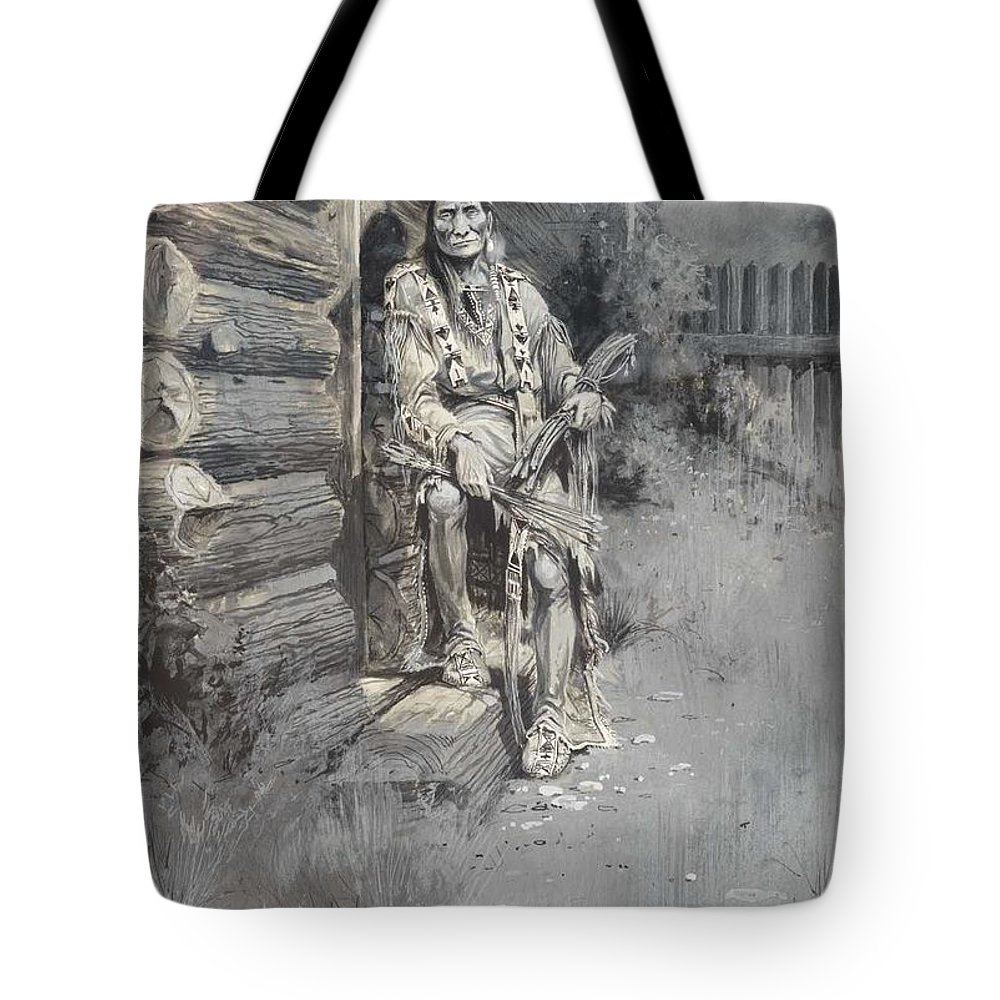 Indian Tote Bag featuring the painting Edgar S. Paxson 1852-1919 He Waited At The Block-house Door, Fort Astoria 1905 by Edgar S Paxson