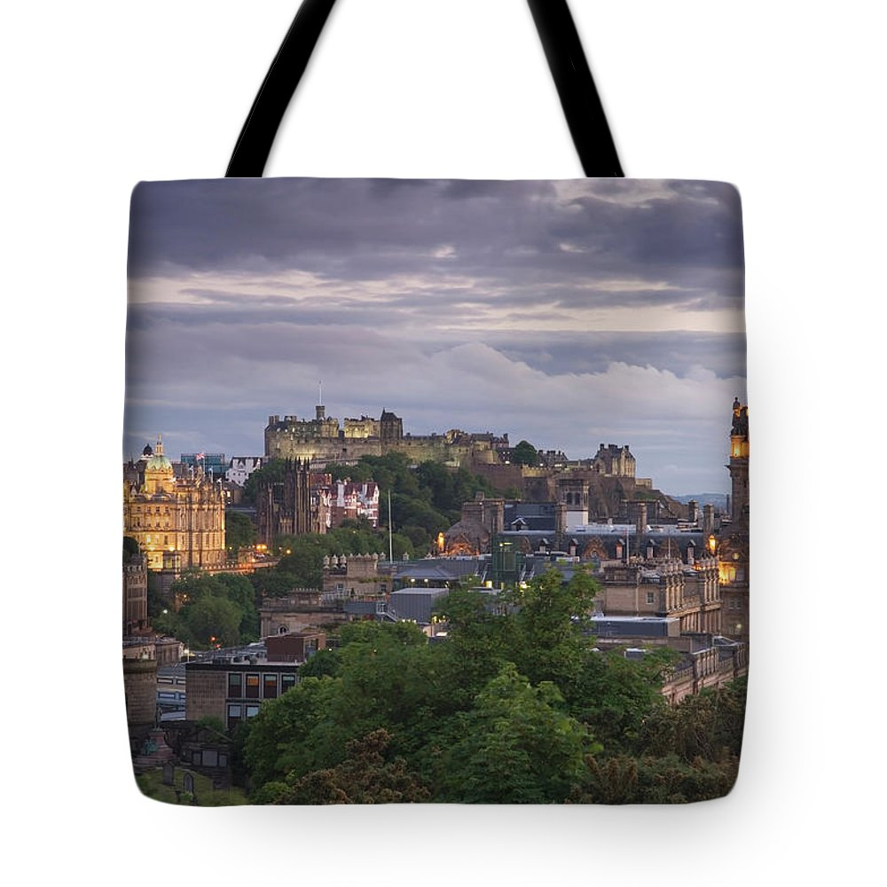 Lothian Tote Bag featuring the photograph Edinburgh At Dusk by Northlightimages