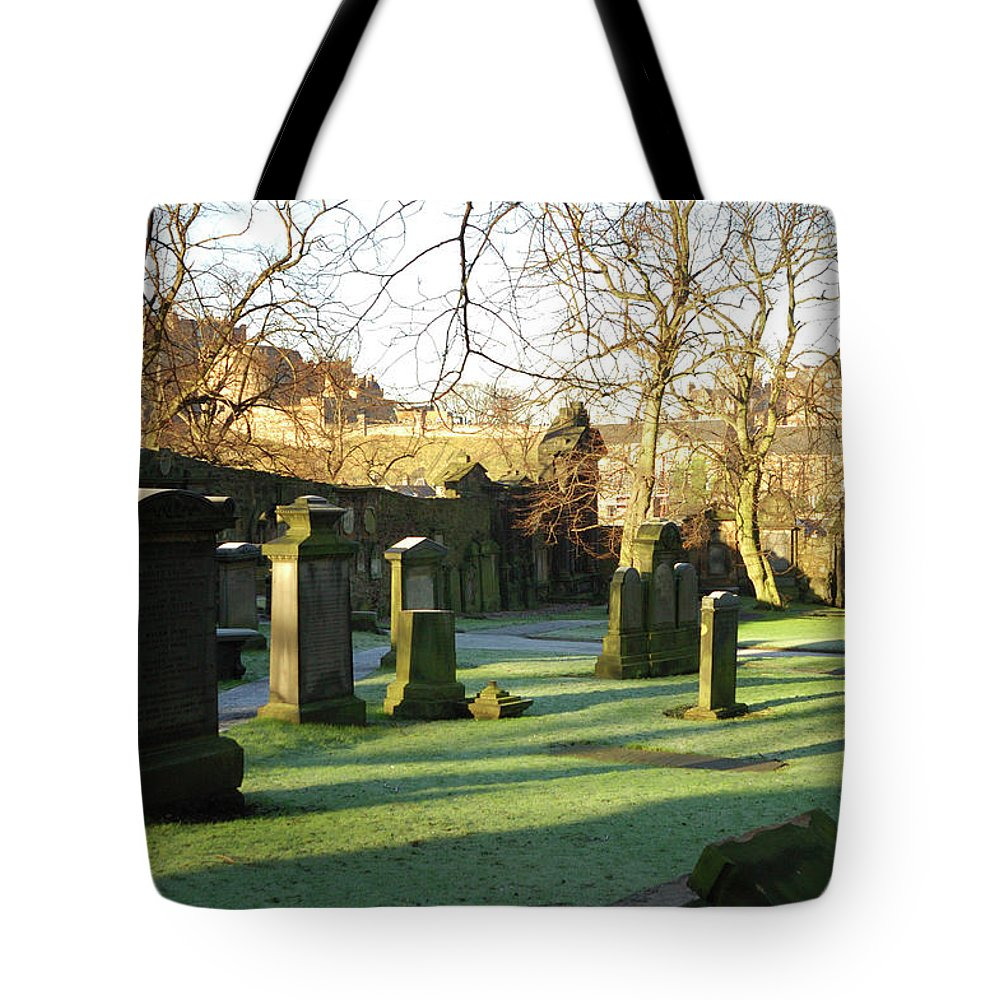 Castle Tote Bag featuring the photograph Edinburgh Castle From Blackfriars In Winter by Victor Lord Denovan