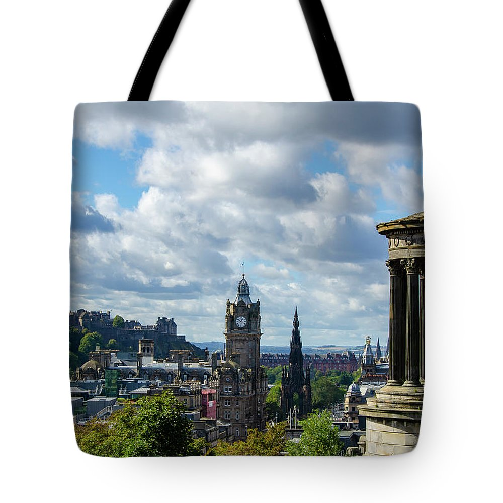 Edinburgh Castle Tote Bag featuring the photograph Edinburgh Castle From Calton Hill by Gerry Greer