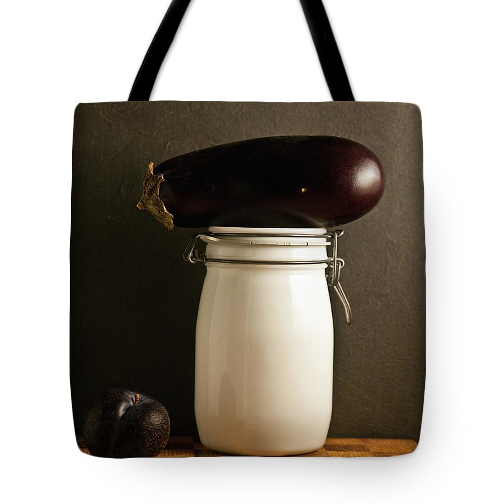 Plum Tote Bag featuring the photograph Eggplant, Plum And Jar Still Life by Marilyn Conway