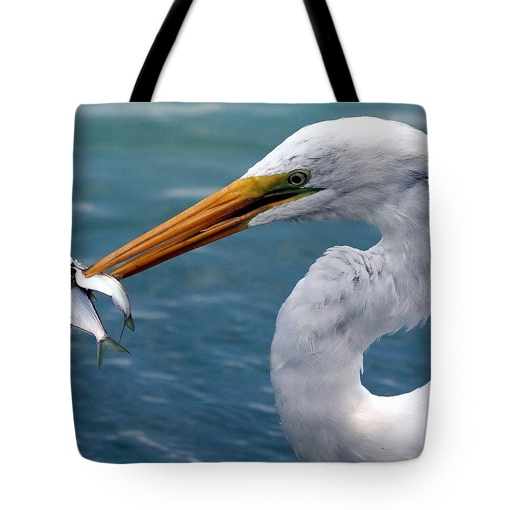 Nature Tote Bag featuring the photograph Egret Feeding by Rob Wallace Images
