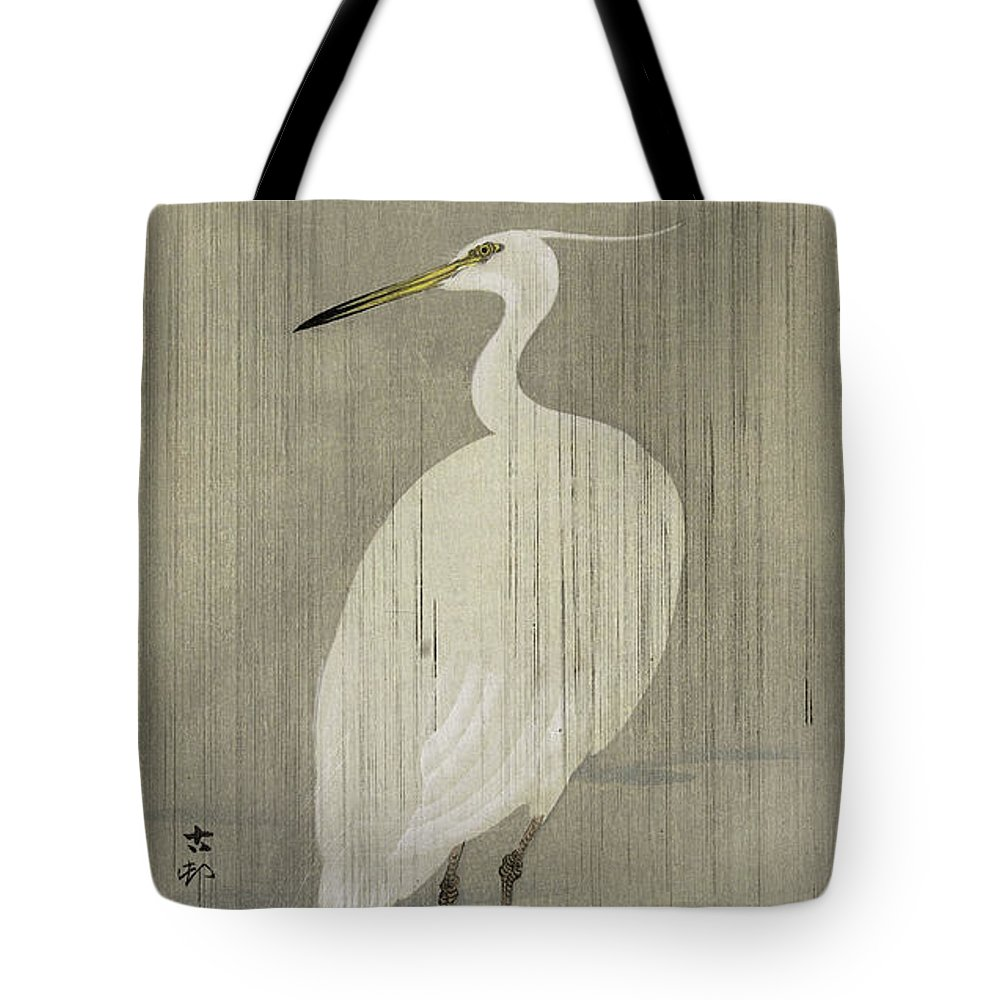 Ohara Koson Tote Bag featuring the painting Egret In Rain by Ohara Koson