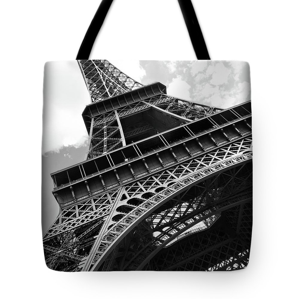 Black Color Tote Bag featuring the photograph Eiffel Tower In Black And White by Sarah8000