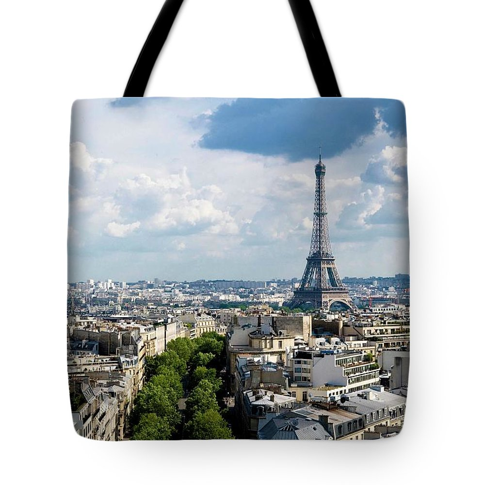 Eiffel Tower Tote Bag featuring the photograph Eiffel Tower View From Arc De Triomphe by Keith Sherwood