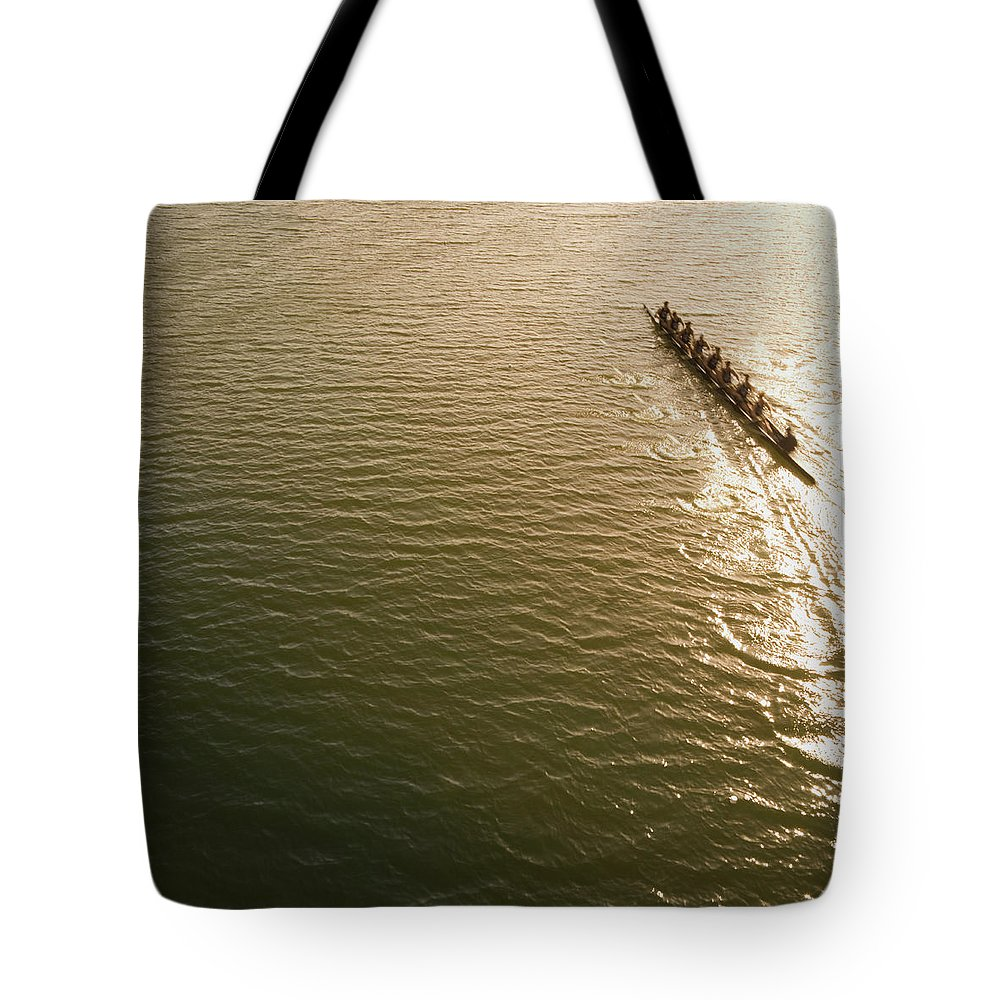 Sport Rowing Tote Bag featuring the photograph Eight Person Rowing Team In Shell With by David Madison