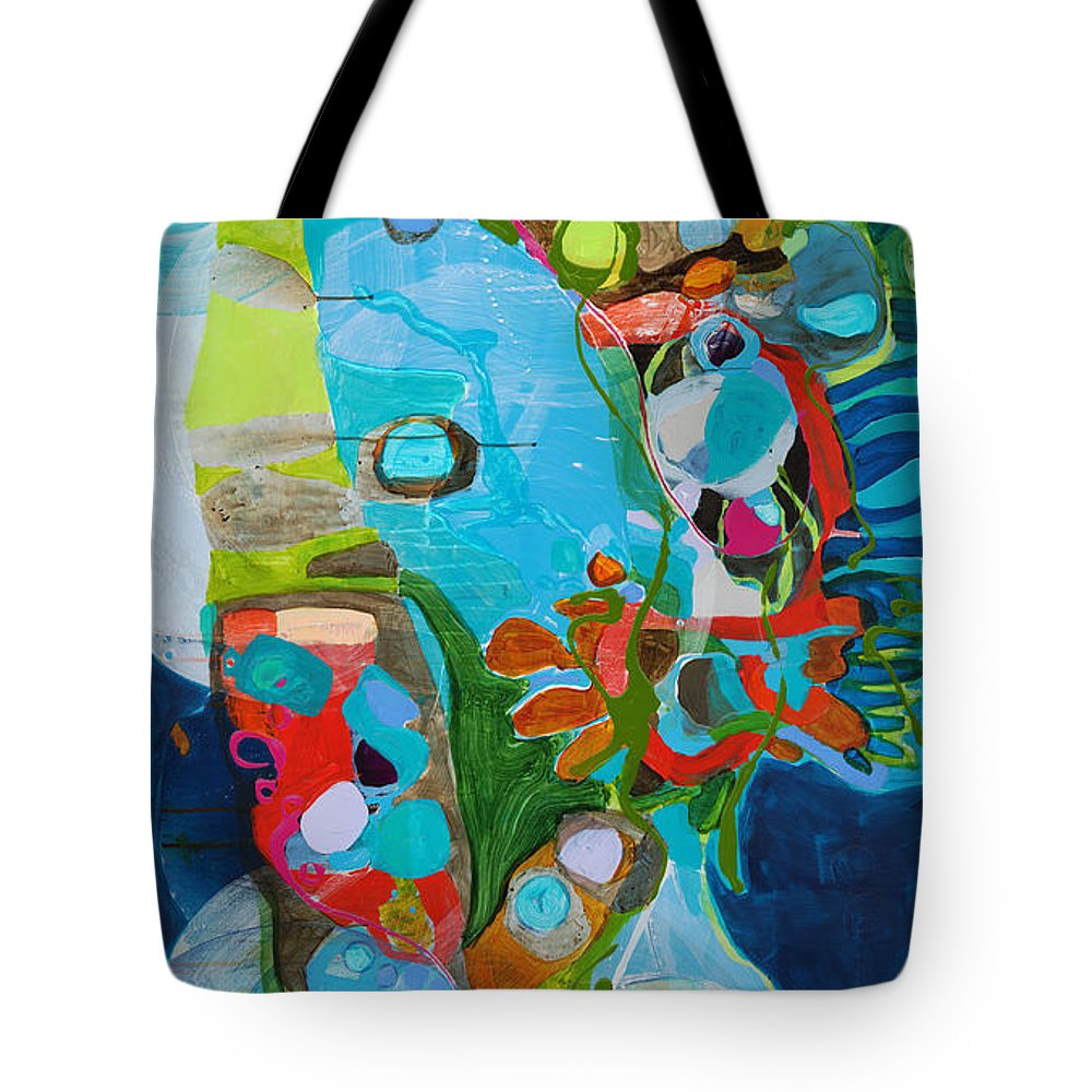 Abstract Tote Bag featuring the painting El Arbol by Claire Desjardins
