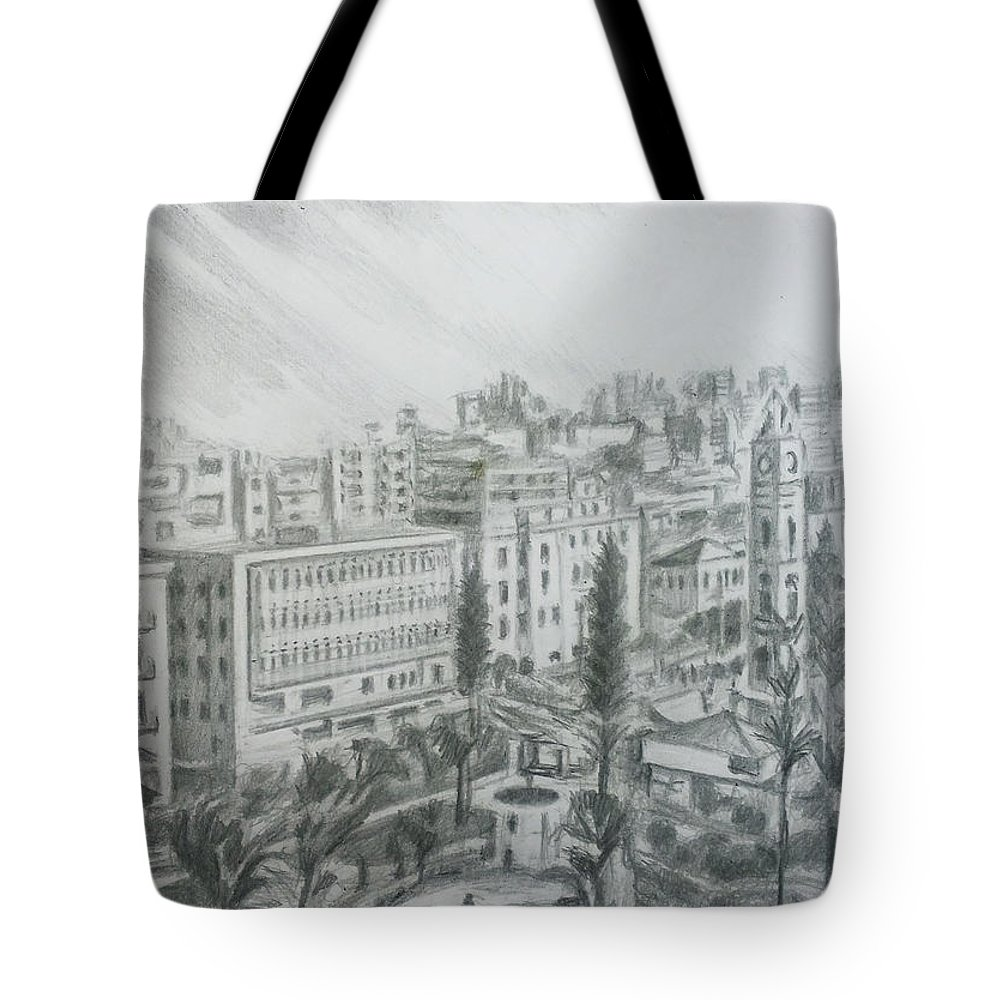 Mansheya Park Tote Bag featuring the drawing El Mansheya Park - Tripoli by Mohammad Hayssam Kattaa