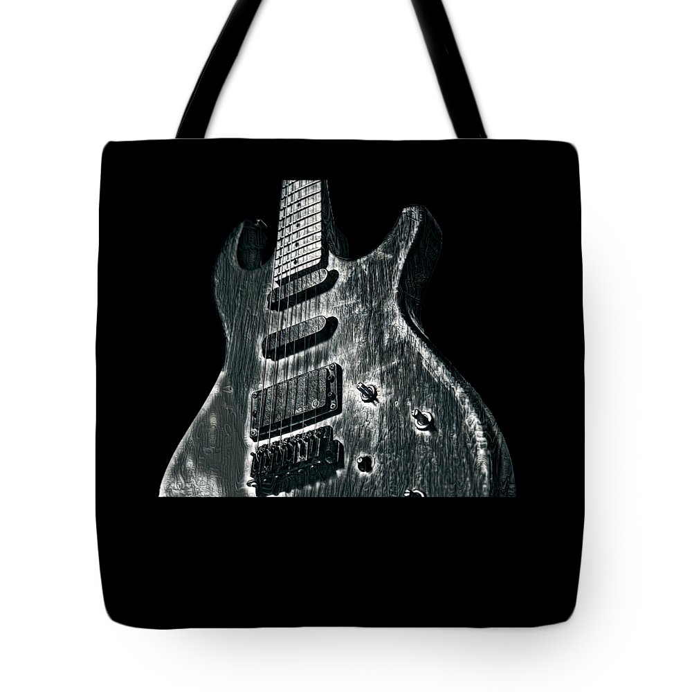 Cool Tote Bag featuring the digital art Electric Guitar Musician Player Metal Rock Music Lead Black by Super Katillz