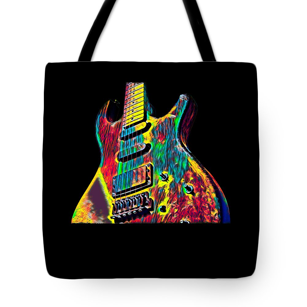 Cool Tote Bag featuring the digital art Electric Guitar Musician Player Metal Rock Music Lead by Super Katillz