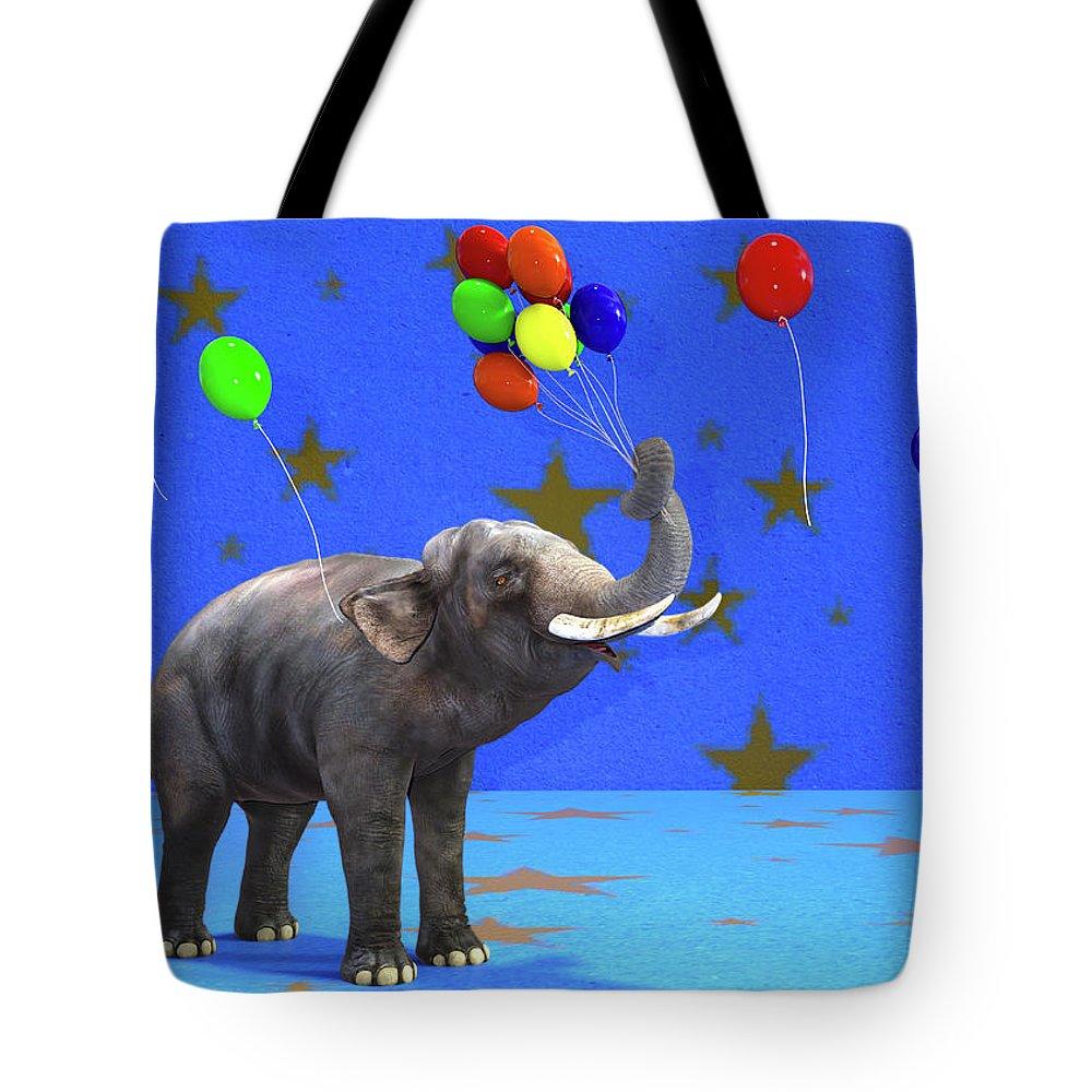 Elephant Tote Bag featuring the digital art Elephant Celebration by Betsy Knapp