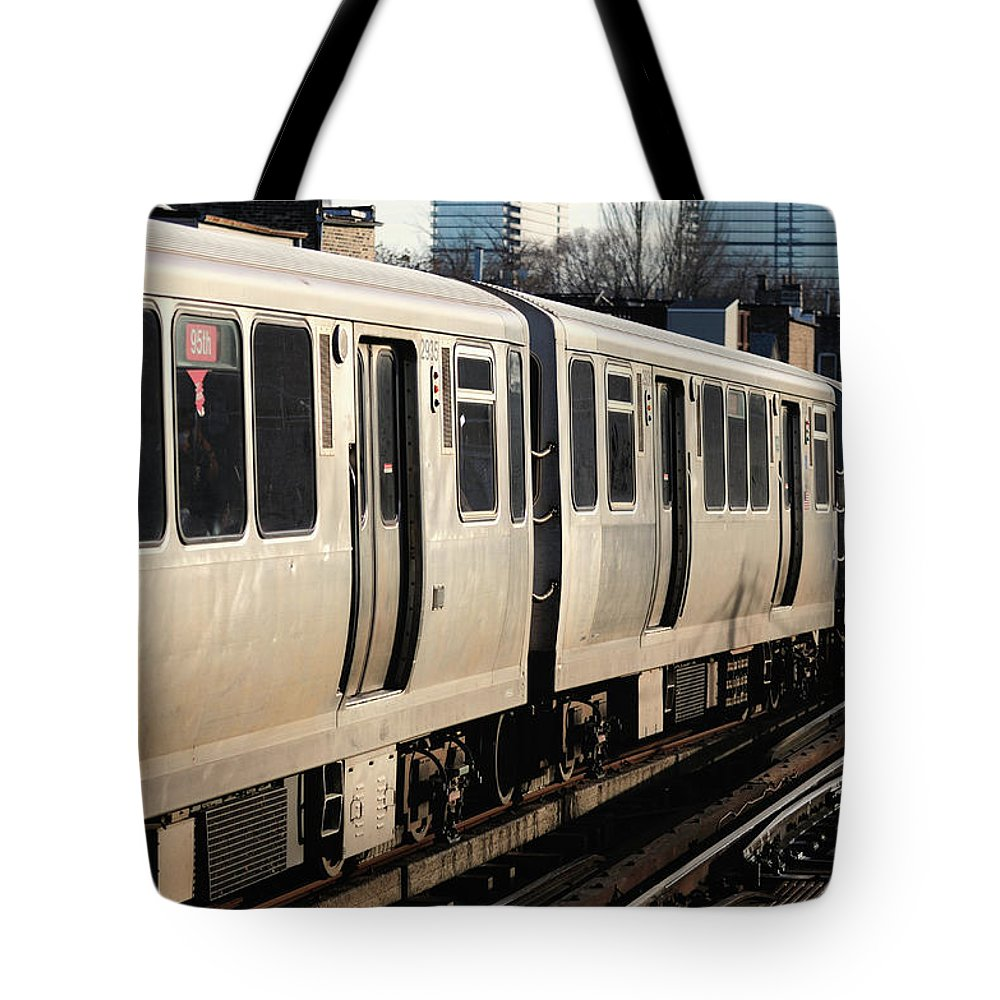 Railroad Track Tote Bag featuring the photograph Elevated Train Descends Into Subway by Bruce Leighty