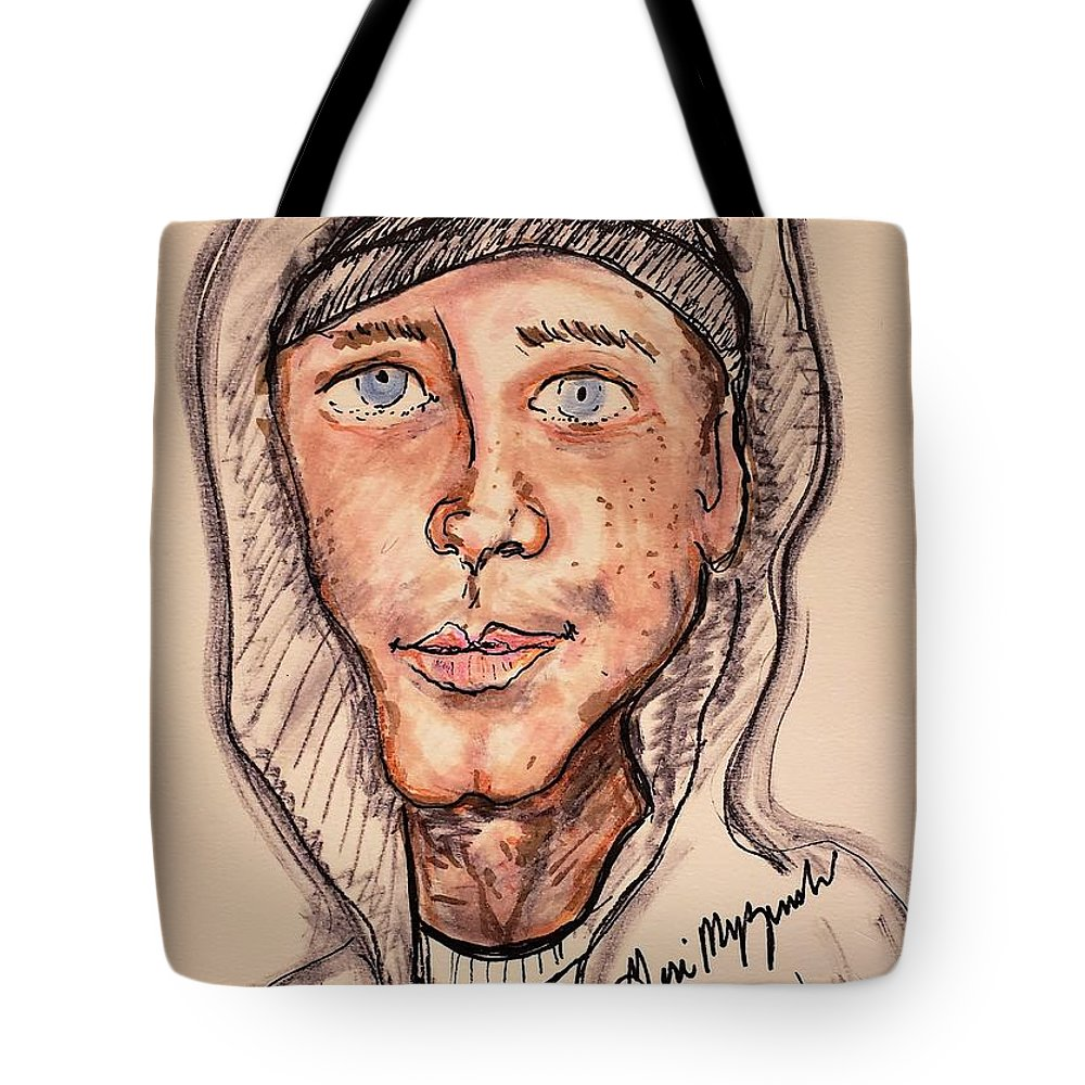 Marshall Mathers Tote Bag featuring the mixed media Eminem Marshall Mathers by Geraldine Myszenski
