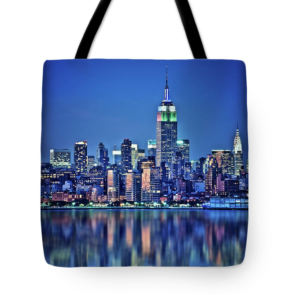 New York Tote Bag featuring the photograph Empire State Building by Delphimages Photo Creations