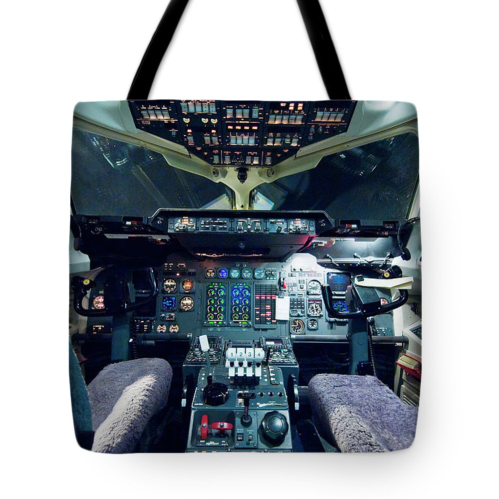 Cockpit Tote Bag featuring the photograph Empty Aeroplane Cockpit by Moodboard