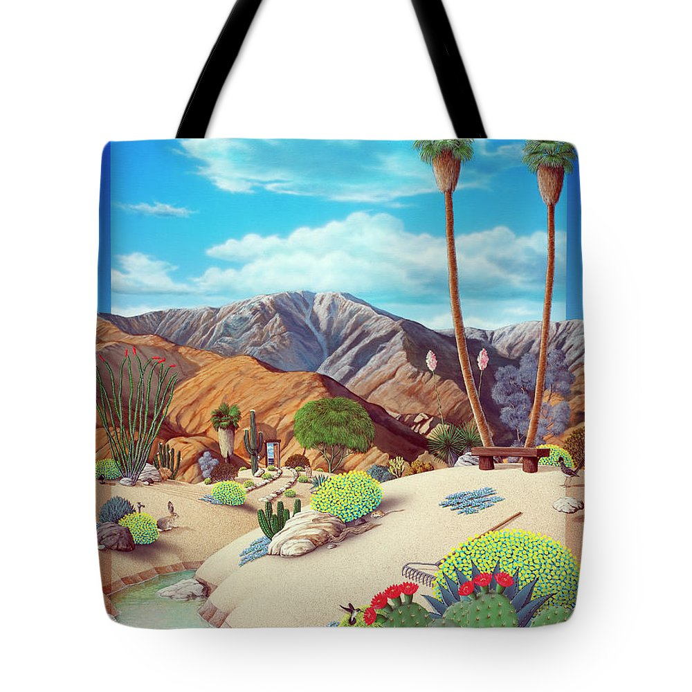 Desert Tote Bag featuring the painting Enchanted Desert by Snake Jagger