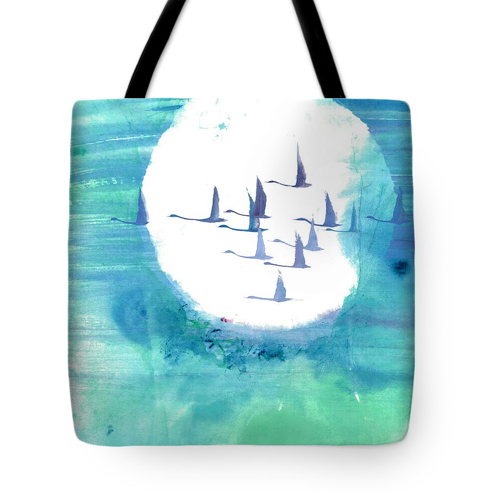 A Journey Through Time Depicted With Watercolor On Rice Paper By Mui-joo Wee In Simple Contemporary Brush Strokes Tote Bag featuring the painting Enchanting Journey II by Mui-Joo Wee