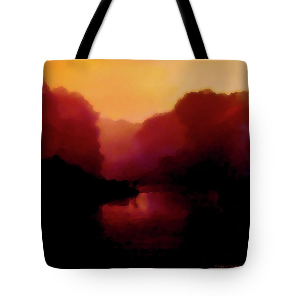 Photography Digital Impressionism Sundown Water Reflections Nature Peggy Cooper Hendon Rust Orange Yellow Tote Bag featuring the photograph End Of Day 3 by Peggy Cooper